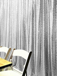 Silver Photography Sequin Fabric Backdrop for Party Prom-ubackdrop