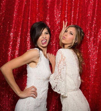 Load image into Gallery viewer, Red Photography Sequin Fabric Backdrop for Party Prom