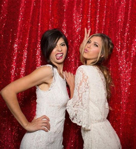 Red Photography Sequin Fabric Backdrop for Party Prom