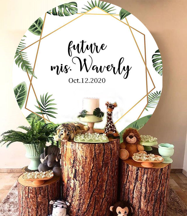 Greenery Round Backdrop Wedding Engagement Party - [product_tag] - ubackdrop
