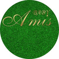 Green Grass Round Backdrop Wedding Baby Shower Birthday Circle Backdrop Custom Round Backdrop-[product_tag]-ubackdrop