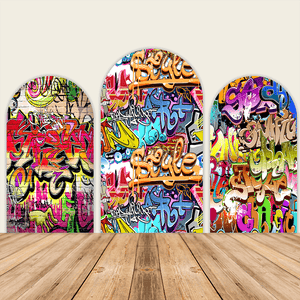 90s Graffiti Theme Birthday Party Decoration Chiara Backdrop Arched Wall Covers-ubackdrop