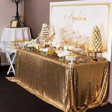 Load image into Gallery viewer, Champagne Gold Sequin Tablecloth  Sparkly Tablecloth Sequin Tablecloth - [product_tag] - ubackdrop