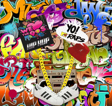 Load image into Gallery viewer, 90'S Hip Hop Graffiti Wall Themed Photography Backdrops No Wrinkles Photo Backgrounds for Birthday Party Studio Props