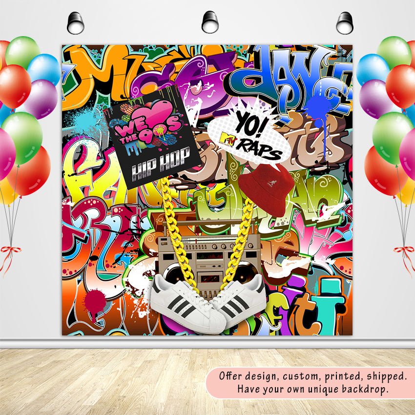 90'S Hip Hop Graffiti Wall Themed Photography Backdrops No Wrinkles Photo Backgrounds for Birthday Party Studio Props