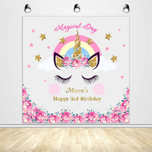 Magical Day Birthday Unicorn with Pink Flowers Custom Backdrop-ubackdrop