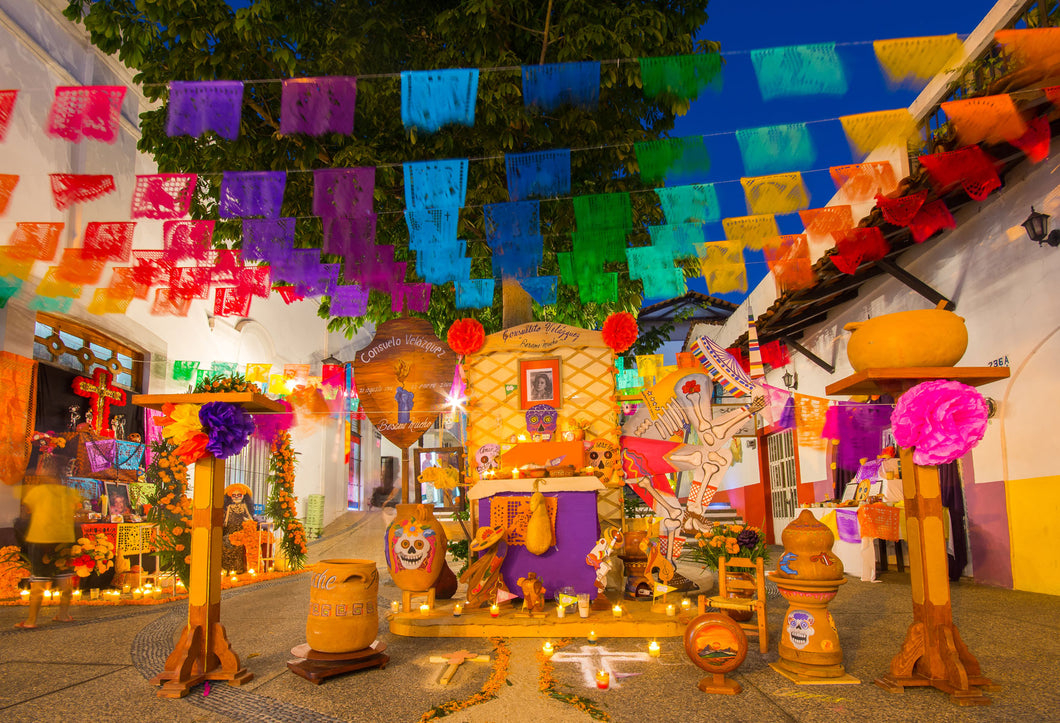 Mexico Street Decoration Photo Backgrounds for Dia De Los Muertos Studio-ubackdrop
