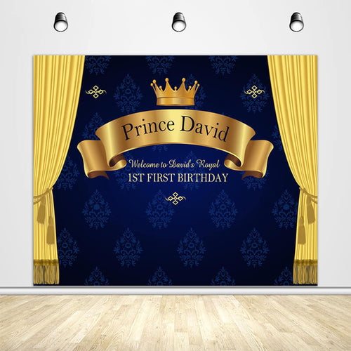 Royal Blue Prince 1st First Birthday Backdrop Yellow Curtain Crown-ubackdrop