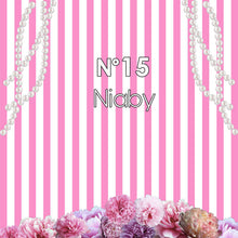 Load image into Gallery viewer, Garden Roses with Pearl Pink and White Stripes Backdrop Chanel Themed Birthday Backdrop Sweet 16 Birthday backdrop-ubackdrop