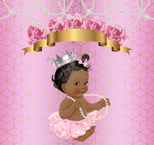 Load image into Gallery viewer, Royal Baby Shower Princess Pink Silver with Pearl Custom Backdrop