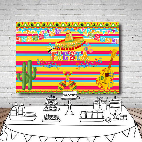 Fiesta Birthday Party Photography Backdrops Mexico Fiesta Theme Party Decoration Banner Photo Studio Booth Custom Backdrop