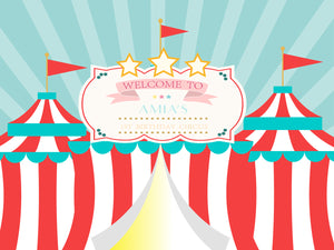 Circus Backdrop,Carnival Baby Shower Backdrop, First Birthday Backdrops
