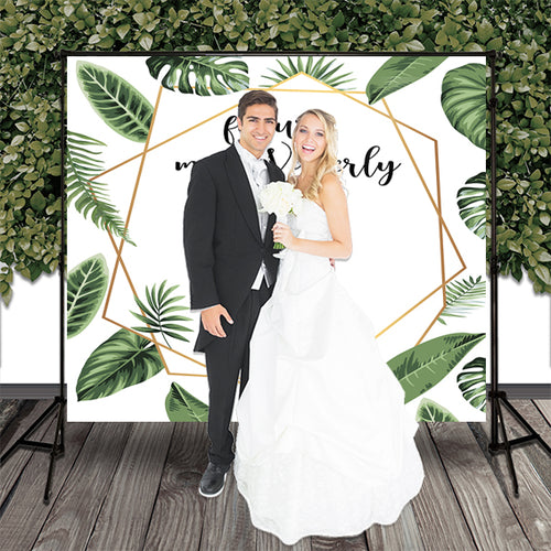 Greenery Wedding Backdrop Printed Fabric Backdrop, Engagement Party Personalized Backdrop