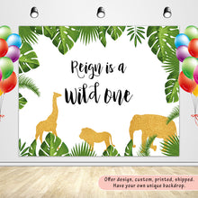 Load image into Gallery viewer, Gold Jungle Backdrop,   Safari Zoo Themed Wild One 1st Birthday, Jungle Baby Shower Decoration,