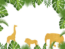 Load image into Gallery viewer, Gold Jungle Backdrop, Safari Zoo Themed Wild One 1st Birthday, Jungle Baby Shower Decoration-ubackdrop