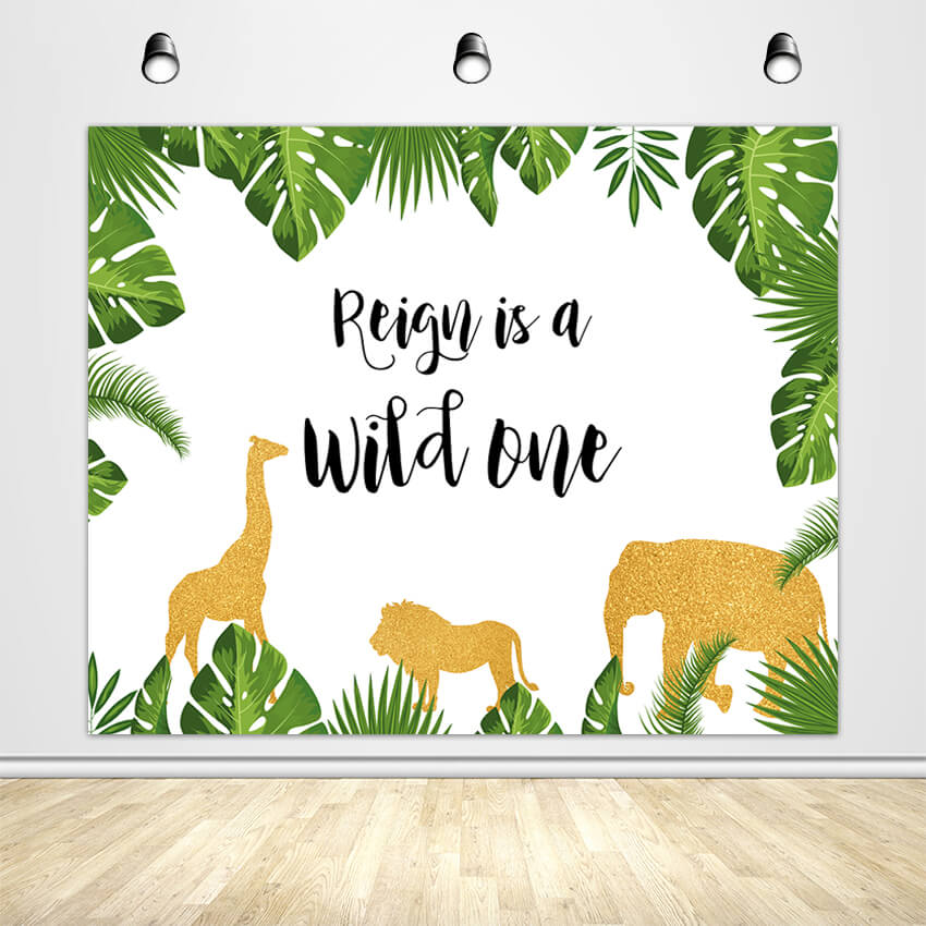 Gold Jungle Backdrop, Safari Zoo Themed Wild One 1st Birthday, Jungle Baby Shower Decoration-ubackdrop