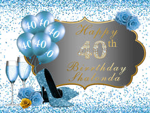 Load image into Gallery viewer, 50th Birthday Backdrop High Heels Blue Backdrop Birthday Party Decorations-[product_tag]-ubackdrop
