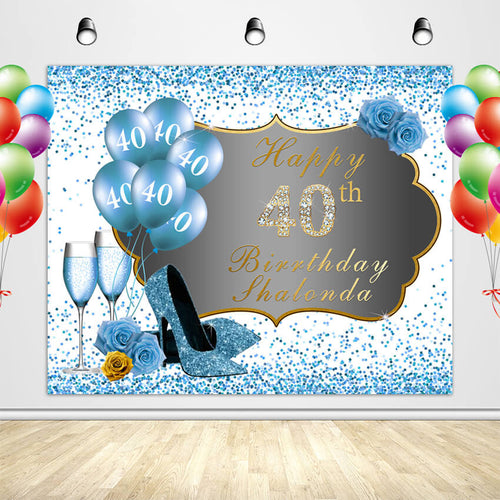 50th Birthday Backdrop High Heels Blue Backdrop Birthday Party Decorations-ubackdrop