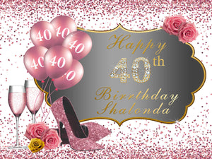 50th Birthday Backdrop High Heels Rose Gold Backdrop Birthday Party Decorations-[product_tag]-ubackdrop