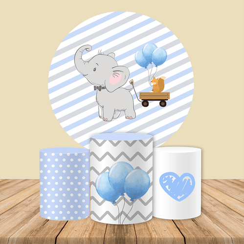 Elephant Baby Shower Birthday Backdrop Circle Backdrop Cover for Party Decoration-ubackdrop