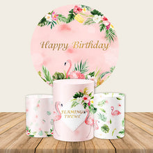 Load image into Gallery viewer, Flamingo Backdrop Circle Backdrop Flamingo Baby Shower Birthday Party Backdrop Ideas-Round Backdrop-[product_tag]-ubackdrop