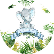 Load image into Gallery viewer, Elephant Baby Shower Backdrop Circle Elephant Backdrop Baby Shower Decoration Ideas-ubackdrop