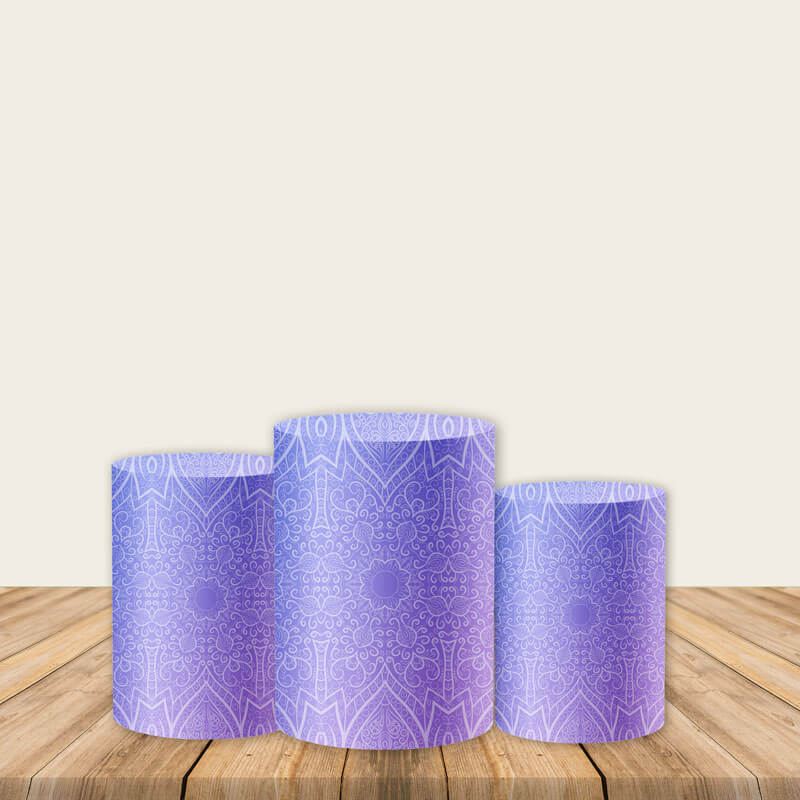 Purple Pedestal Covers Plinth Cover Printed Fabric Party Cylinder Cover-ubackdrop