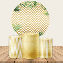 Load image into Gallery viewer, White And Gold Round Backdrop Circle Backdrop with Leaves Party Decoration Ideas-Round Backdrop-[product_tag]-ubackdrop