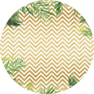 White And Gold Round Backdrop Circle Backdrop with Leaves Party Decoration Ideas-Round Backdrop-[product_tag]-ubackdrop