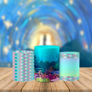 Mermaid Pedestal Covers Plinth Cover Printed Fabric Pedestal Cover-Cylinder/Round Covers-[product_tag]-ubackdrop
