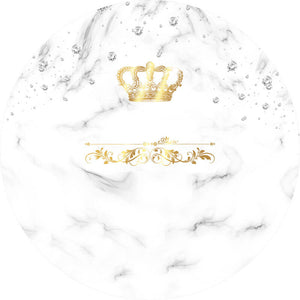 White Round Backdrop Circle Backdrop with Crown and Diamond for Party Decoration-Round Backdrop-[product_tag]-ubackdrop