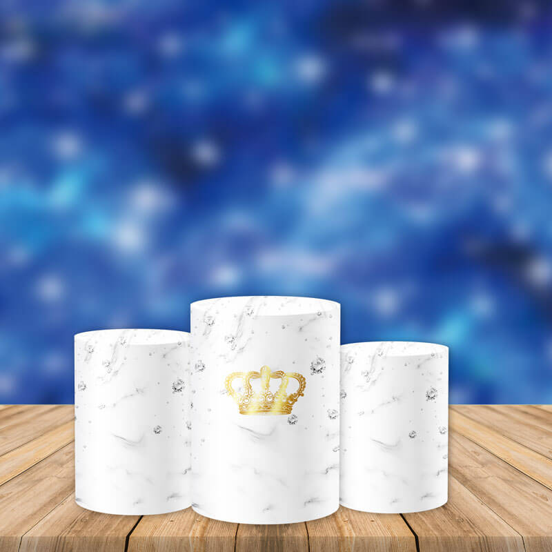 White Utility Pedestal Covers Plinth Cover Printed Fabric Pedestal Cover-Cylinder/Round Covers-[product_tag]-ubackdrop