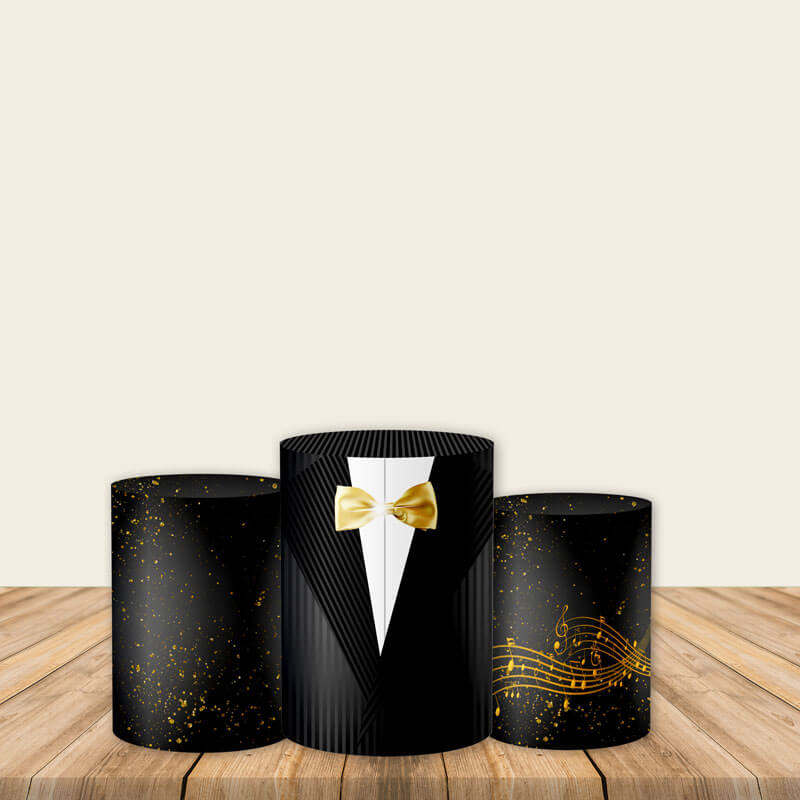Black and Gold Utility Pedestal Covers Plinth Cover Printed Fabric Pedestal Cover