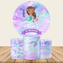 Load image into Gallery viewer, Little Mermaid Round Backdrop Circle Mermaid Backdrop Baby Shower Decoration Ideas-Round Backdrop-[product_tag]-ubackdrop