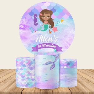 Little Mermaid Round Backdrop Circle Mermaid Backdrop Baby Shower Decoration Ideas-Round Backdrop-[product_tag]-ubackdrop