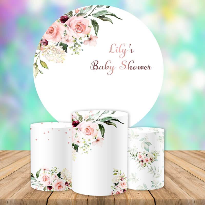 Floral Baby Shower Round Backdrop Circle Wedding Backdrop Decoration Ideas-Round Backdrop-[product_tag]-ubackdrop