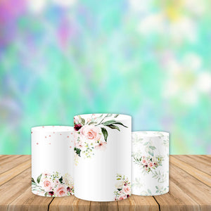 Floral Baby Shower Pedestal Covers Plinth Cover Printed Fabric Pedestal Cover-Cylinder/Round Covers-[product_tag]-ubackdrop