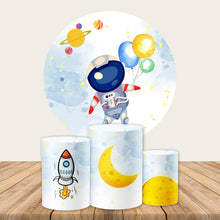 Load image into Gallery viewer, Spaceman Astronaut Round Backdrop Rockets Universe Boy Birthday Party Backdrop