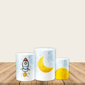 Astronaut Rockets Pedestal Covers Plinth Covers Printed Fabric Pillar Stand Covers