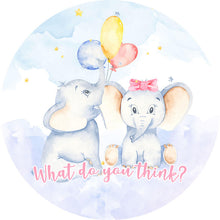 Load image into Gallery viewer, Elephant Baby Shower Round Backdrop Elephant Themed Baby Shower Decorations