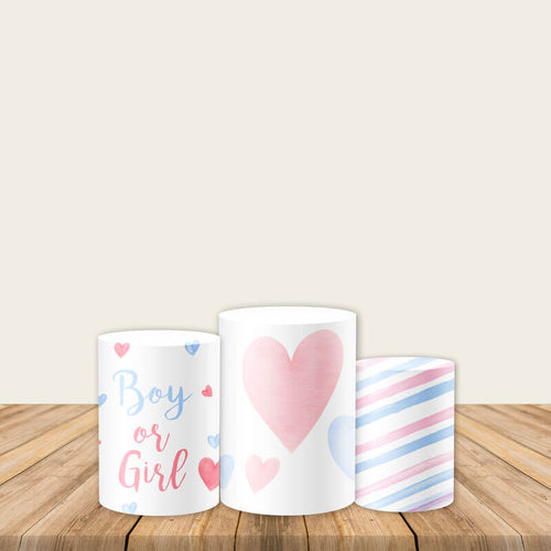 Boy or Girl Gender Reveal Pedestal Covers Plinth Cover Printed Fabric Cylinder Covers