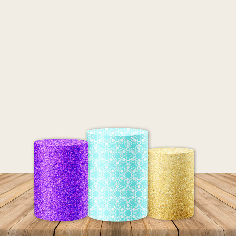 Purple Blue Gold Pedestal Covers Plinth Cover Printed Fabric Pedestal Cover