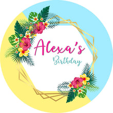 Load image into Gallery viewer, Wreath Birthday Round Backdrop Circle Wedding Baby Shower Backdrop Decoration Ideas