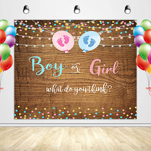 Rustic Wood Gender Reveal Backdrop with Footprint Boy or Girl Gender Reveal Party Banner-[product_tag]-ubackdrop