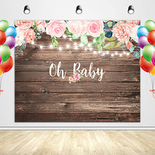 Load image into Gallery viewer, Rustic Wood Baby Shower Backdrop Oh Baby Decoration Banner for Girl-[product_tag]-ubackdrop