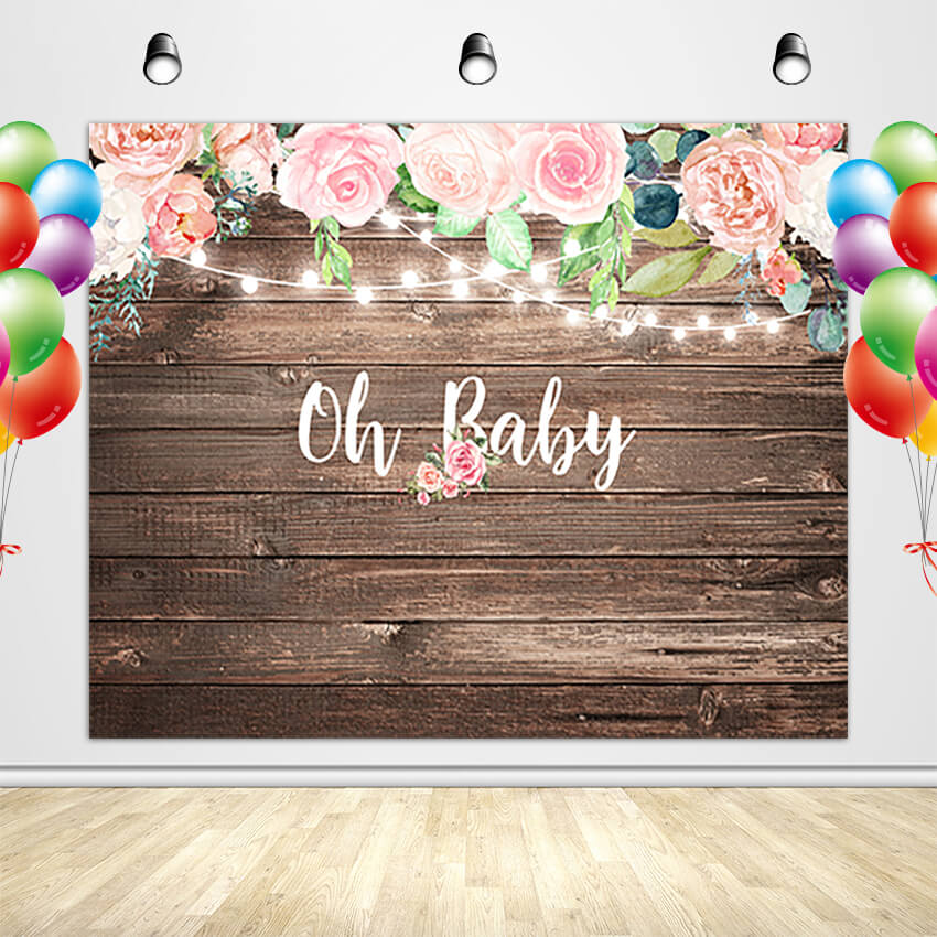 Rustic Wood Baby Shower Backdrop Oh Baby Decoration Banner for Girl-[product_tag]-ubackdrop