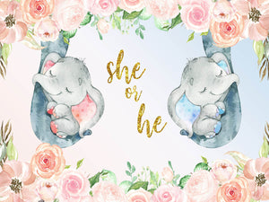 Elephant Gender Reveal Backdrop He or She Baby Shower Party Banner-ubackdrop