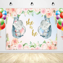 Load image into Gallery viewer, Elephant Gender Reveal Backdrop He or She Baby Shower Party Banner-ubackdrop