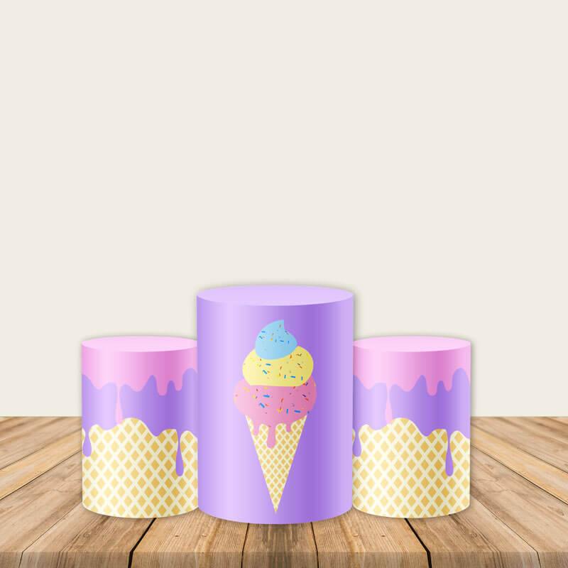 Ice Cream Pedestal Covers Plinth Cover Printed Fabric Cylinder Cover-Cylinder/Round Covers-[product_tag]-ubackdrop