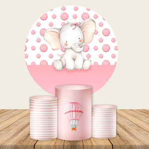 Pink Elephant Backdrop Circle Elephant Baby Shower Backdrop Decorations for Girl-Round Backdrop-[product_tag]-ubackdrop